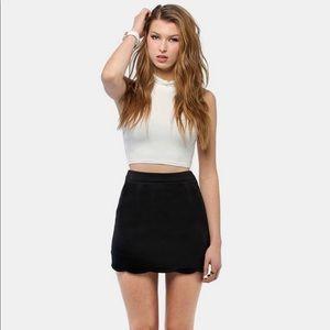 Tobi Tidal Wave Black Scalloped Mini Skirt XS